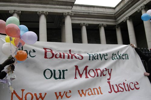 The banks have taken our money banner